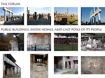 Thumbnails of 16 photos of the Pompeii forum, homes, paintings, and human casts
